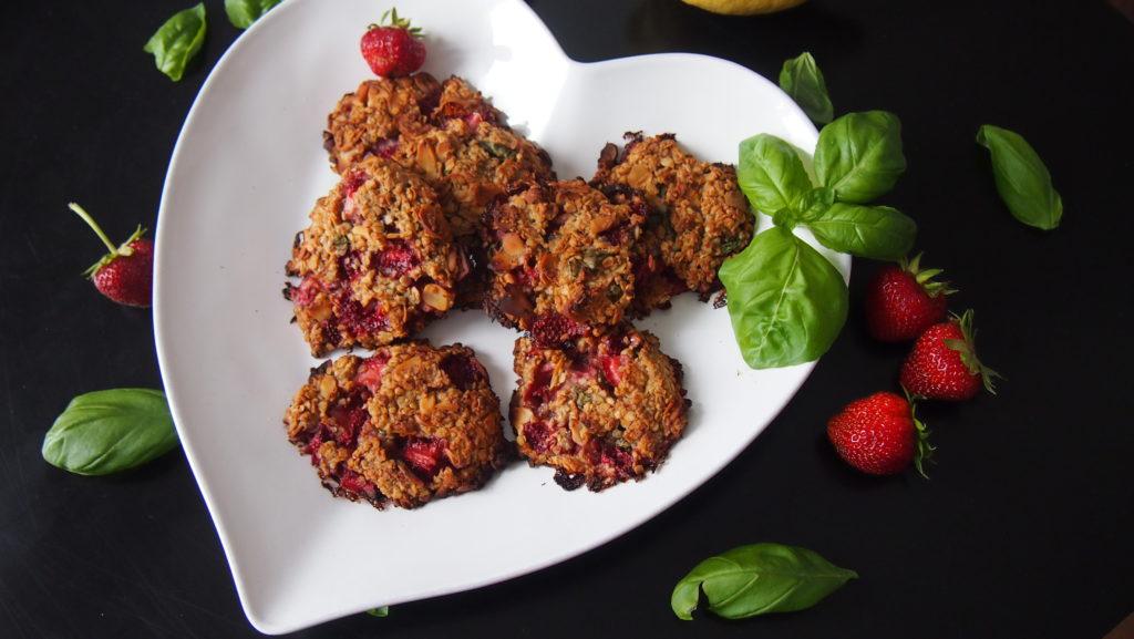 Erdbeer Basilikum Cookies