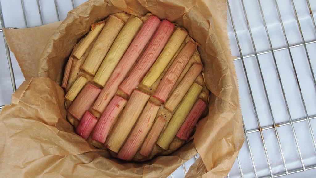 Gesunder Rhabarber Rührkuchen ohne Zucker