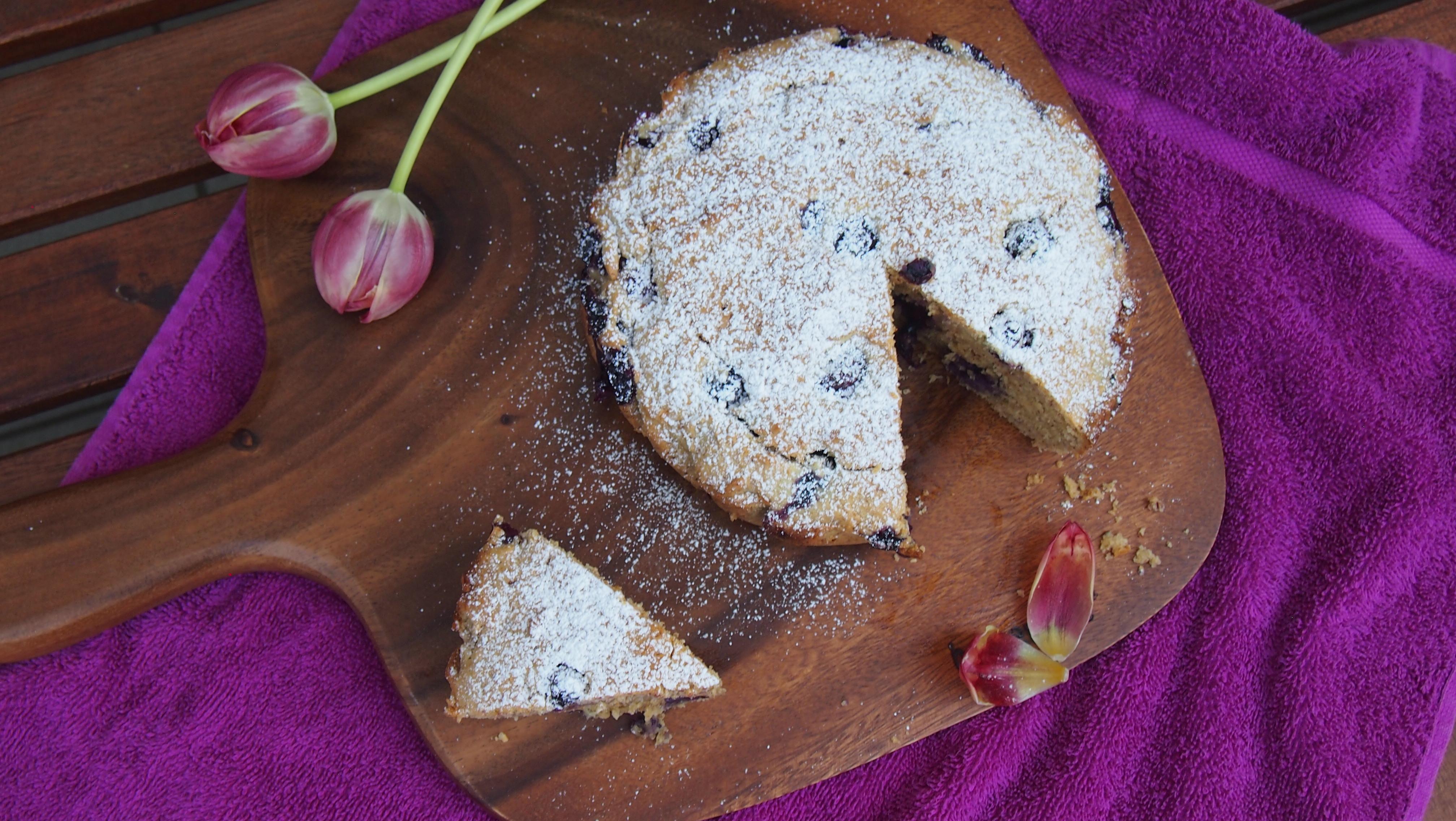 Blaubeer Vanille Kuchen ohne Zucker