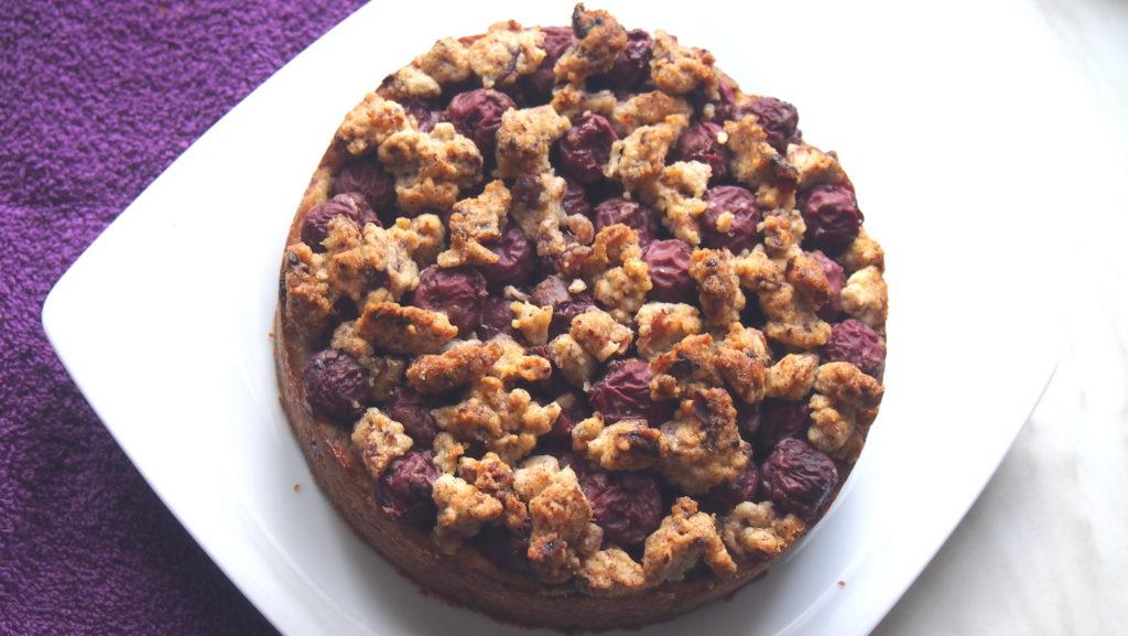 Kirschkuchen mit Schoko-Nuss-Pudding und ohne Zucker