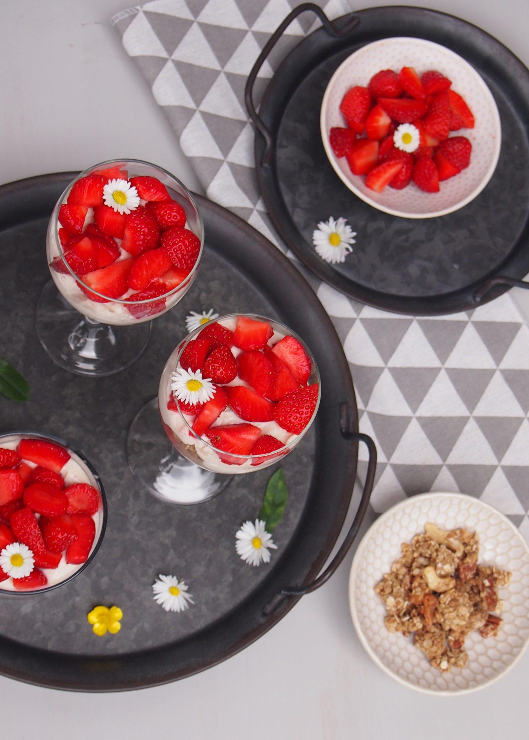 Zuckerfreies Erdbeer Dessert